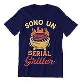 PiumeOro T-Shirt Unisex Divertente con Scritta Sono Un Serial Griller (Blu, XXL)