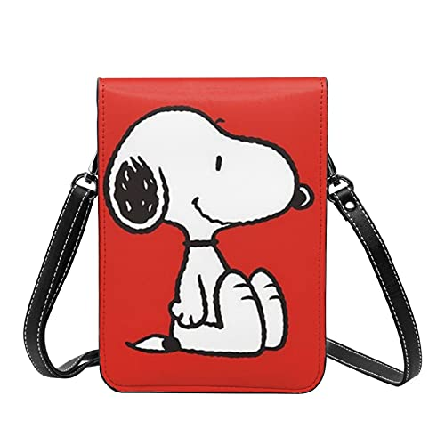 Anime Cartoon Snoopy Crossbody Bolsos ligeros pequeños pasaporte monedero de cuero cartera bolsa para mujeres viaje playa bolsa
