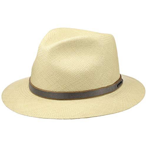 Stetson Sombrero Panamá Monterrey Traveller Hombre - Made in Italy de Paja Verano con Banda Piel, Piel Primavera/Verano - M (56-57 cm) Natural