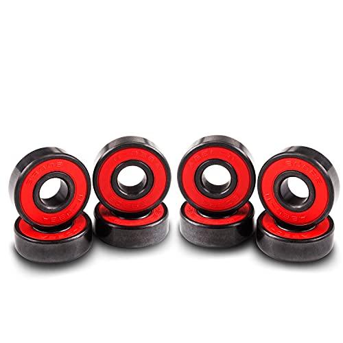 Senston Rodamientos de Bolas para monopatín 8 Piezas Rodamientos de Velocidad 608 RS ABEC-11 para monopatines, Scooters, Patines en línea