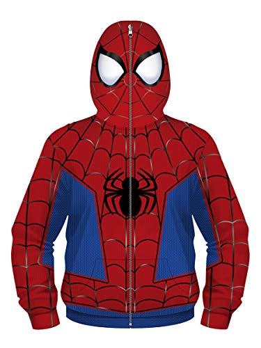 Jungen Mädchen Kapuzenpullover Teens Spiderman Hoodie Kinder Langarm Pulli mit Kapuzen Sweatshirt Pullover(7-8 Years(S),Spiderman e)