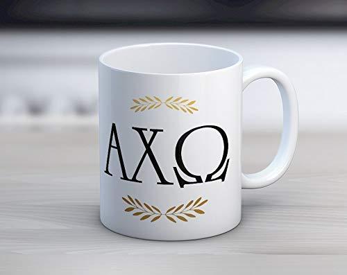 N\A AXO Alpha Chi Omega Letters Mug Sorority Taza de café