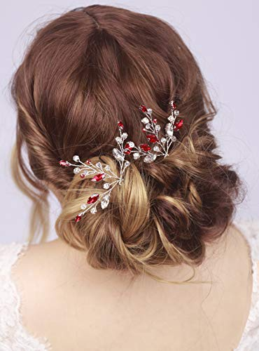 Kercisbeauty 2pcs Handmade Red Rhinestones Beads Hair Pins for Brides Hair Piece for Wedding Prom(Silver)