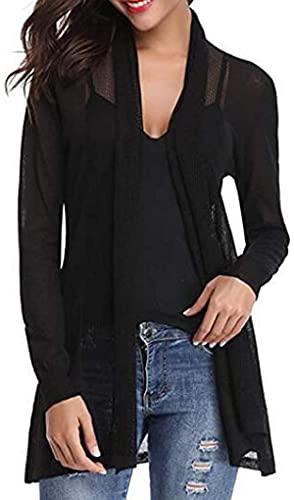 Women Cardigan Fashion Long Sleeve Transparent Cover Casual Coat