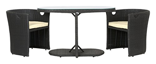 Rattan4Life 3-teilig Den Haag Deluxe Polyrattan Gartenmöbel Set, Sofa/Lounge/Gartengarnitur/Kissenbezug, schwarz/braun/beige
