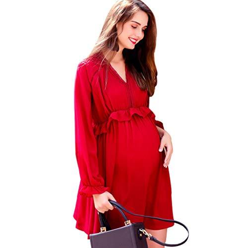 Vestidos Ropa premamá Ropa de Maternidad Primavera y otoño Falda Midi Elegante Rojo Mangas largas Ropa de Embarazo Suelta Suave y cómodo Regalo de Las Mujeres Embarazadas Oficina