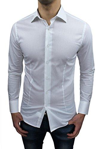 Camicia Uomo Sartoriale Bianca Slim Fit Aderente Nuova Casual Elegante (L, Bianco)
