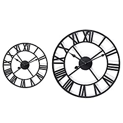 xiaofeng214 40/60cm Tumid Alloy Skeleton Roman Numeral Wall Clock Black Round Shape (Color : 60cm)