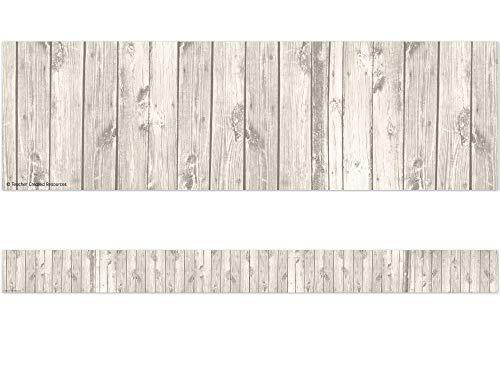 Teacher Created Resources 3563 White Wood Straight Border Trim