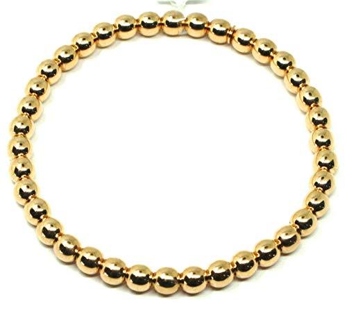 Pulsera elástica de oro amarillo de 18 quilates, bolas, grosor de 5 mm, fabricada en Italia.