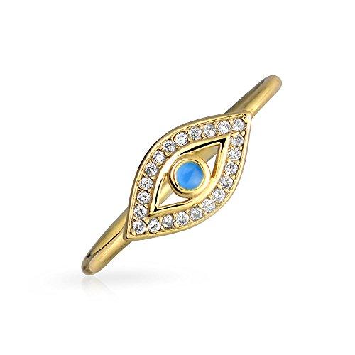 Bling Jewelry Minimalista 14K Placcato Oro Argento 925 Midi Il Fuso A Snodo 1 MM Impilabile Banda CZ Halo Malocchio Anello per Teen