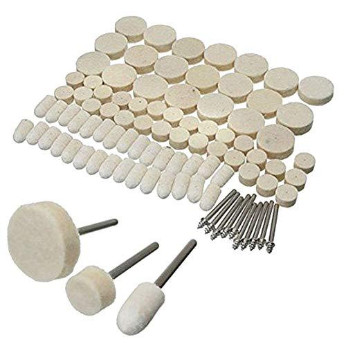 Polishing Buffing Wheels Kit Gemstone Wool Felt Rotary Tool Buffing Wheels Accessories Pads Set Ring Buffing Kit Polishing Set Compatible with Dremel Tool Accessories Kit