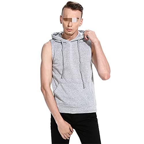 Felpa Cappuccio Uomo Senza Maniche Tinta Unita vestibilità Regolare Top Uomo Casual Sportiva Shirt Uomo Estate Elasticizzata Shirt Uomo Confortevole Assorbente del Sudore Top Uomo