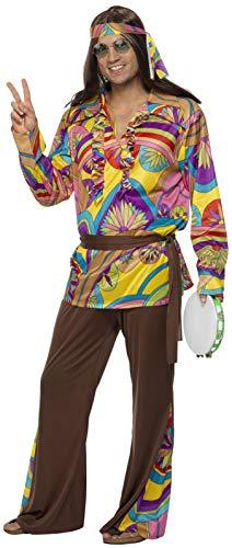 Smiffys Costume de hippie psychédélique, homme, multi couleurs, avec pantalon, chemise,