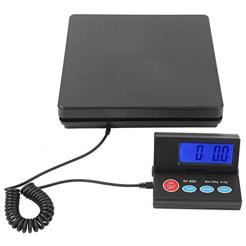 Zerone Básculas para Correo, Escala Digital Eléctrica con Plataforma de Pesaje para Paquetes Postales y Comercial, 50 kg / 2g(110-240V)