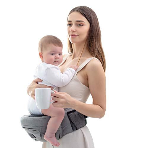 Smoothbaby® Hüftsitz Baby - Babytrage für 4 bis 36 Monate - Einstellbare Größe XS bis XXL - Baby Tragesystem Ergonomisch und Leicht - Hochwertige Qualität - Hellgrau.