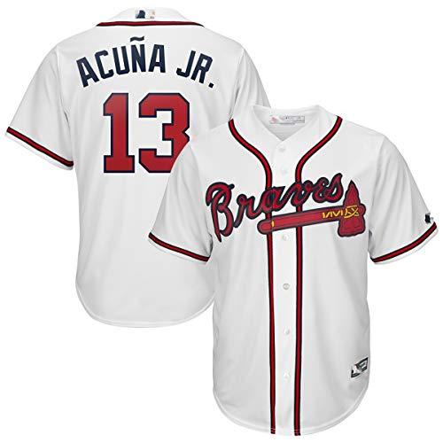 Jugend-Baseball-Trikot für Braves Nr. 13 für Acuna Jr. Hip-Hop-Kostüm Party Brief T-Shirt, kann wiederholt gewaschen Werden, geeignet für Männer, Frauen, Jugendliche, Kinder-White-Youth~L