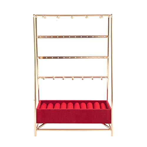 Cajas de Joyería Decorativas 5 Soporte de joyería de nivel, Pantalla de joyería decorativa con organizador de joyería de bandeja de terciopelo para collares, pulseras, aretes y anillos, 6,3 '× 9.8' Ca