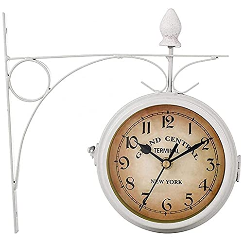 ZHJIUXING ST Reloj de Pared para jardín al Aire Libre, Reloj de Pared de Doble Cara de 8 Pulgadas, Reloj de jardín con Soporte de Aspecto Antiguo, Reloj Impermeable para Exteriores, White