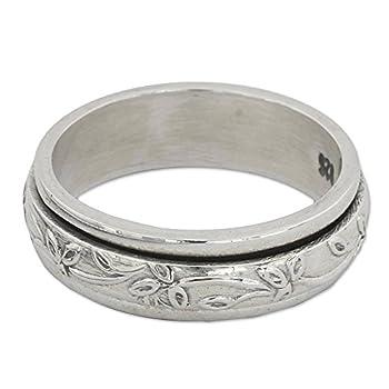 NOVICA .925 Sterling Silver Floral Meditation Spinner Ring Spinning Leaves