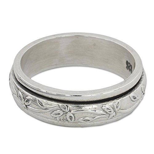 NOVICA .925 Sterling Silver Floral Meditation Spinner Ring, Spinning Leaves'