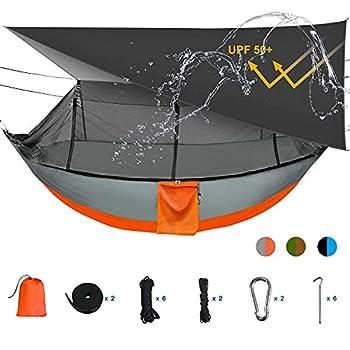 Sotech Hamac Moustiquaire avec Bâche Imperméable, Hamac de Camping, 260x140cm Hamac Jardin, Poids Léger 2 Couches de Nylon ,300 kg Capacité de Charge, Gris / orange UPF 50+