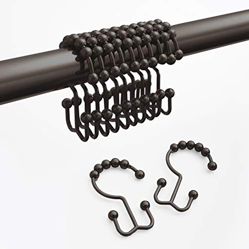 Maytex Shower Curtain Hooks Rust-Resistant Metal Double Roller Glide, Rings for Bathroom, Set of 12, Oil Rubbed Bronze