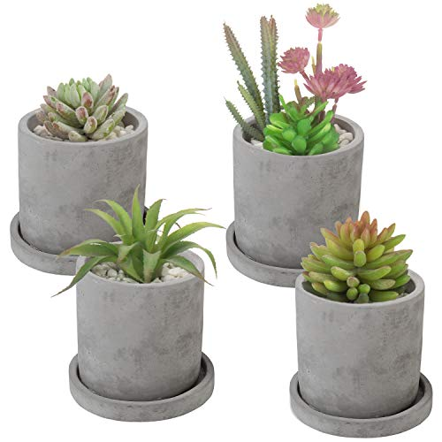 MyGift 4-Inch Unglazed Cement Succulent Planter with Saucer, Set of 4