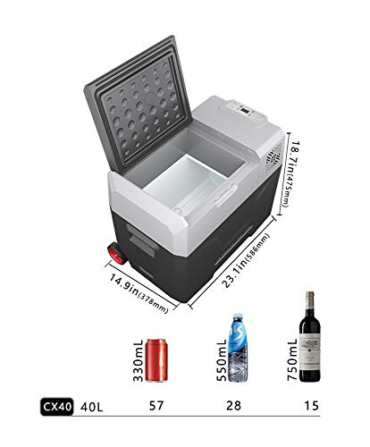 Alpicool CX40 Portable Refrigerator 42 Quart(40 Liter) with Trolley Vehicle, Car, Truck, RV, Boat, Mini Fridge Freezer for Driving, Travel, Fishing, Outdoor -12/24V DC