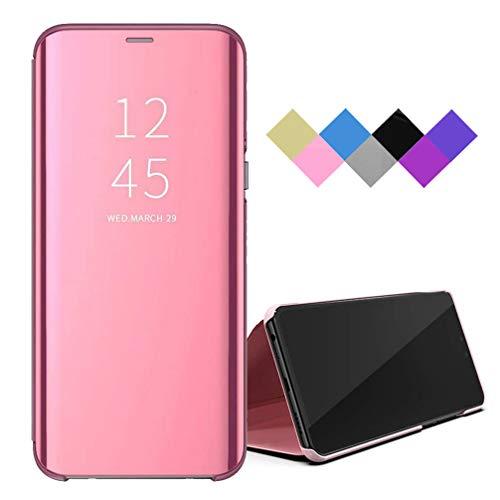 Funda para Samsung Galaxy A50/A30s/A50s Smart Mirror Flip Cover Funda Ultrafina para Teléfono a Prueba de Golpes con Función de Soporte Adecuado Carcasa para Samsung Galaxy A50/A30s/A50s-Oro Rosa