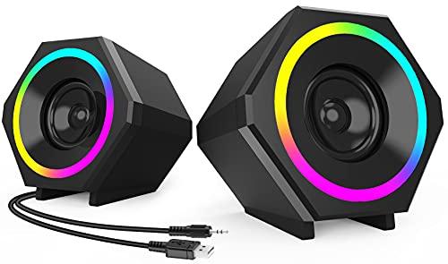 NJSJ PC Lautsprecher,USB Computer Lautsprecher 10W Stereo Gaming Lautsprecher system mit farbenfroher LED Beleuchtung für Desktop Notebook