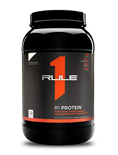 Rule One Proteins, R1 Protein - Vanilla Crème, 25g Fast-Acting, Super-Pure 100% Isolate and Hydrolysate Protein Powder with 6g BCAAs for Muscle Growth and Recovery, 2.5 Pounds, 38 Servings
