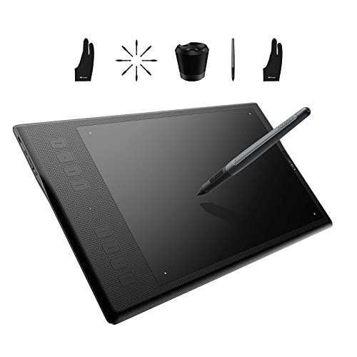 Huion Inspiroy Q11K Wireless Graphic Drawing Tablet- Digital Pen PF150, Replacement Pen Nibs PN03 8PCS with Pen Holder, Black Artist Glove Included