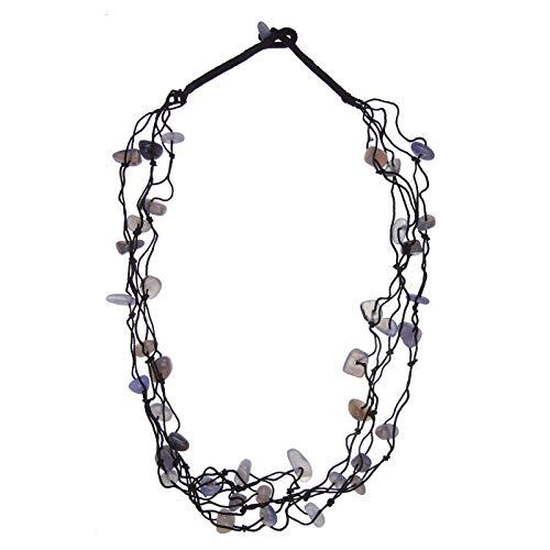 Damen Halskette schwarz mit Chalcedon blau 80 cm lang Wasserfall-Collier mehrreihig