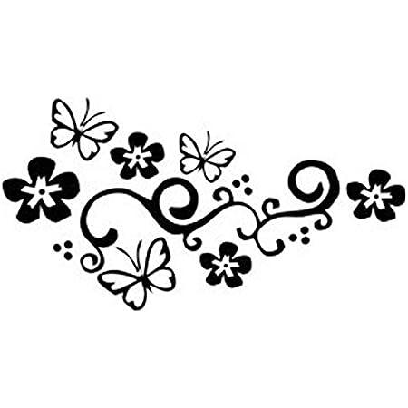 Vorcool 2 Stück Schmetterling Und Blume Autoaufkleber Auto Tattoo Auto