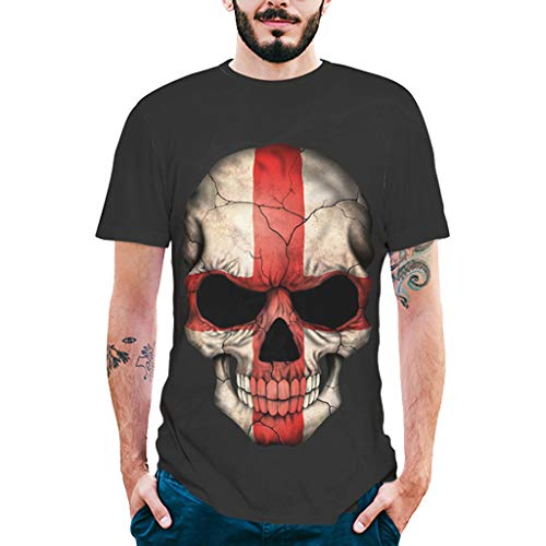 BaZhaHei Manga Corta de Hombre Impresión en 3D Camisa de Calavera Camiseta de...