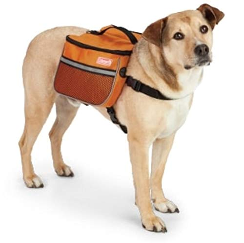 Coleman Dog Backpack Saddle with Leash Ring and Lift Strap - Hound Pack, Travel Gear, Hiking Pouch, and Camping Accessory for Dogs - Orange, Large