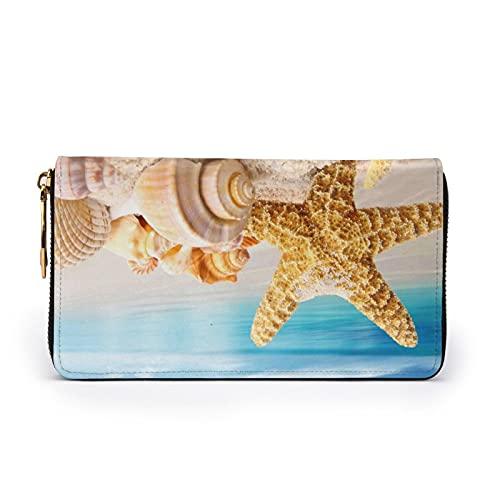 Romantische Sonnenblumen-bedruckte Leder-Geldbörse für Frauen mit Reißverschluss, Clutch, Reise-Kreditkarten-Halter, Strandmuscheln Seestern, Einheitsgröße,