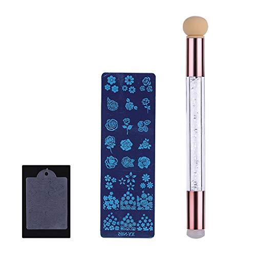 Lidahaotin Motif Floral en Acier Inoxydable Plaque Stamping Nail à Clou Plaque Deux têtes Art Pen PVC Scraper Rose Gold