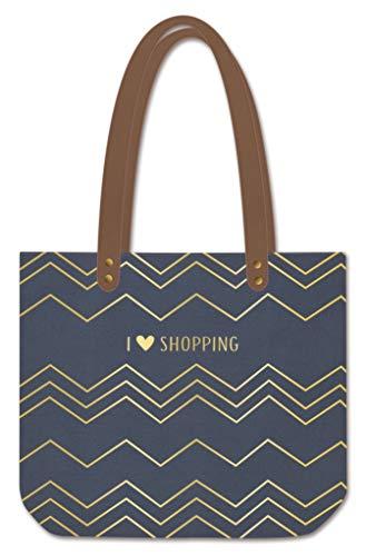 ART GRAFIK - Bolso para mujer'I Love Shopping | piel sintética de lino | gris y oro | 47,5 x 39 cm | 62057
