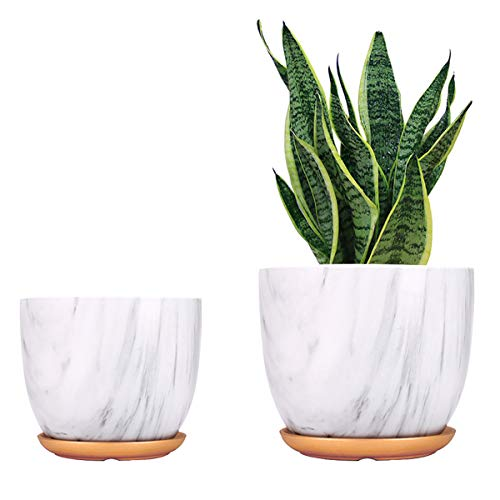 Ceramic Plant Pots 7 55 Inch Medium amp Small Flower Modern Style Floor Planters Indoor amp Outdoor Gardening Containers 2 Pack Set with Drainage Hole and Saucer