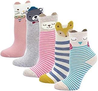 PUTUO Calcetines de Algodón Niñas Navidad Calcetines Térmicos, Niña Calcetines de Invierno Lindo Caliente Calcetines, 8-11 años, 5 pares