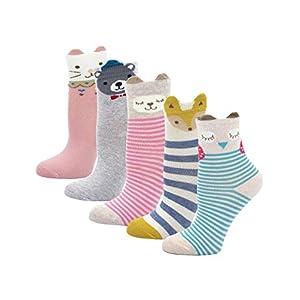 Cotone Calzini per Bambina, Animale Cartone Animato Calze alla Caviglia per Ragazze, 2-11 Anni, 5 Paia
