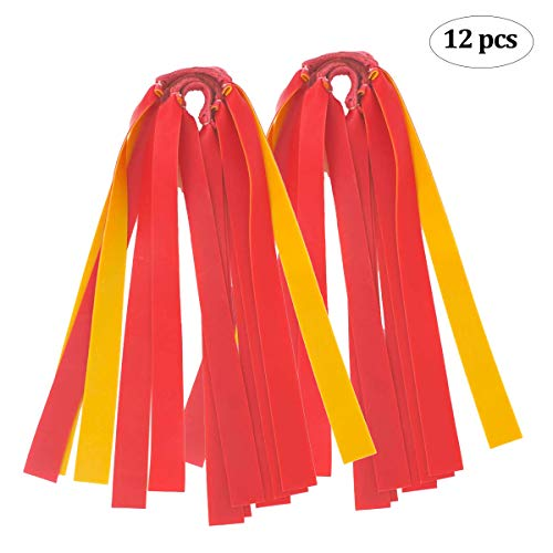 Abbiline Slingshot Bands - 12 Pcs Human Slingshot Replacement Bands - 1 mm Thickness Flat/Latex Rubber Band for Hunting Outdoor Shooting Game