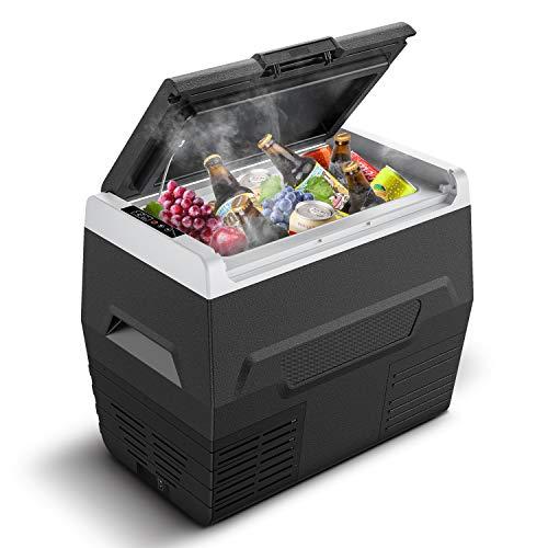CALMDO CD-F35L Elektrische Kompressor-Kühlbox Mini-Kühlschrank Auto Kühlbox, 35 Liter Fassungsvermögen, 12/24 V tragbar für Auto, LKW, Boot, Steckdose, Energieklasse A+