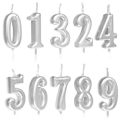 10 candele numerali per torta di compleanno, numeri 0-9, con glitter, decorazione per torta di compleanno e feste, colori oro, argento, oro rosa 2