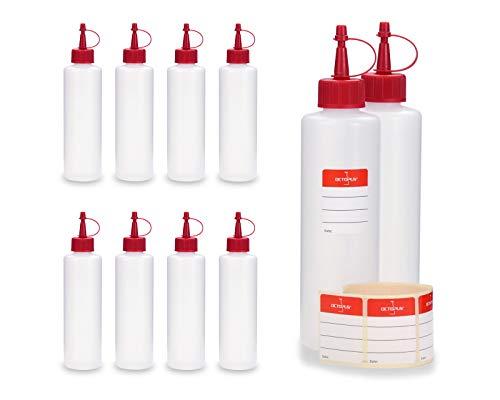 Octopus 10 x 250 ml HDPE Plastikflaschen, z.B. für E-Liquids (E-Zigaretten), Liquidflaschen BZW. Kunststoffflaschen mit Roten Spritzverschlüssen/Tropfverschlüssen, inkl. Beschriftungsetiketten