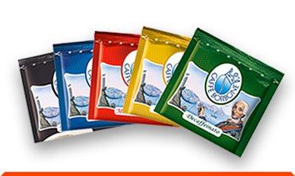 5 x 50 Pads, 44 mm, Borbone Kostprobe: Pads: 50 schwarze, 50 blaue, 50 rote, 50 goldene, 50 koffeinfreie