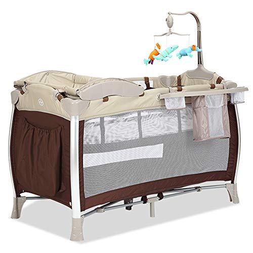 KLI Plegable Portátil Bebé Recién Nacido Cuna Cuna Bebé Niño Algodón Juego De Música Jardín De Infantes Viaje Cama Suministros para Bebés, 125X65x77 Cm,Brown