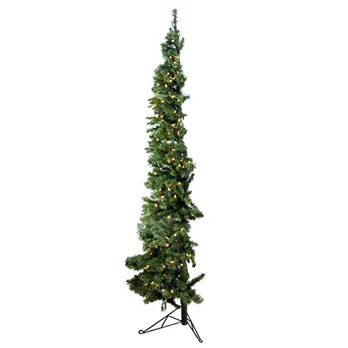 Home Heritage 5 Foot Pre-Lit Slim Indoor Artificial Corner Christmas Holiday Tree with White LED Lights, Folding Metal Stand and Easy Assembly